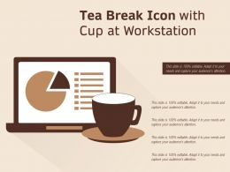 Tea Break Icon With Cup At Workstation
