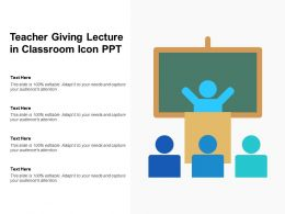 Teacher Giving Lecture In Classroom Icon PPT