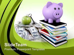 Teacher Powerpoint Templates Piggy With Books Education Ppt Slides
