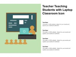 Teacher Teaching Students With Laptop Classroom Icon