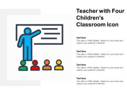 Teacher With Four Childrens Classroom Icon