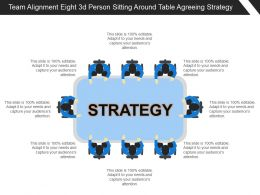 Team Alignment Eight 3d Person Sitting Around Table Agreeing Strategy