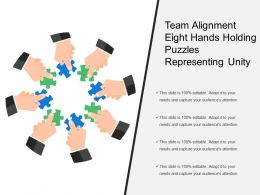 Team Alignment Eight Hands Holding Puzzles Representing Unity