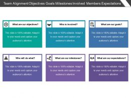 Team Alignment Objectives Goals Milestones Involved Members Expectations
