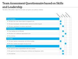 Team Assessment Questionnaire Based On Skills And Leadership