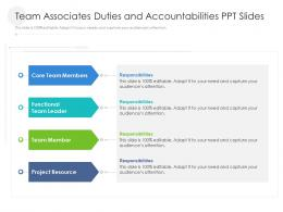 Team Associates Duties And Accountabilities PPT Slides