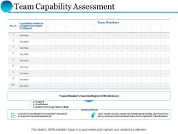 Team Capability Assessment Table Ppt Powerpoint Presentation Inspiration File Formats