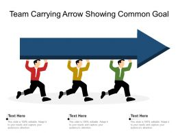 Team Carrying Arrow Showing Common Goal