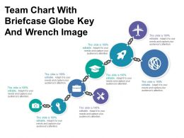 Team Chart With Briefcase Globe Key And Wrench Image