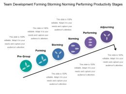 Team Development Forming Storming Norming Performing Productivity Stages 2