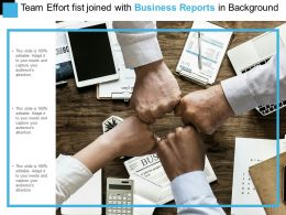 Team Effort Fist Joined With Business Reports In Background