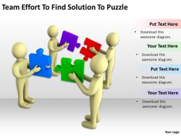 Team Effort To Find Solution To Puzzle Ppt Graphics Icons Powerpoint