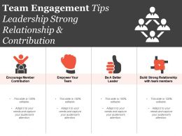 Team Engagement Tips Leadership Strong Relationship And Contribution