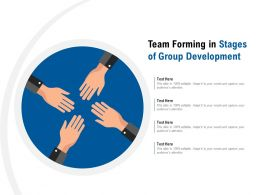 Team Forming In Stages Of Group Development