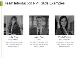 Team Introduction Ppt Slide Examples