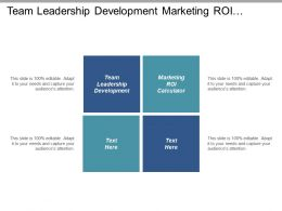 Team Leadership Development Marketing Roi Calculator Cost Estimate Cpb