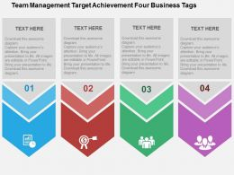 Team Management Target Achievement Four Business Tags Flat Powerpoint Design