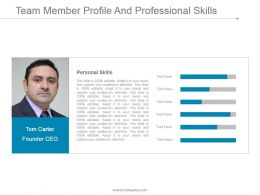 Team Member Profile And Professional Skills Presentation Images