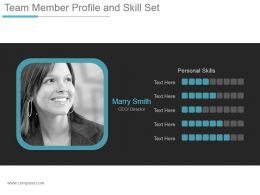 Team Member Profile And Skill Set Ppt Design Templates