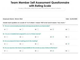 Team Member Self Assessment Questionnaire With Rating Scale