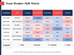 Team Member Skill Matrix Team Member Six Sigma Role