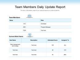 Team Members Daily Update Report