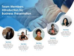 Team Members Introduction For Business Presentation Infographic Template