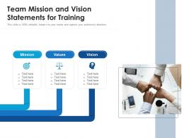Team Mission And Vision Statements For Training