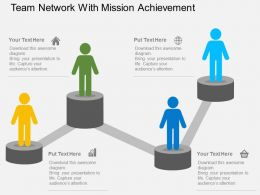 Team Network With Mission Achievement Flat Powerpoint Design