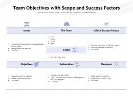 Team Objectives With Scope And Success Factors