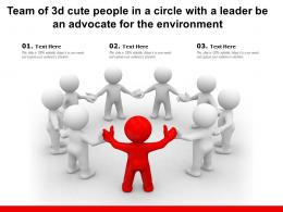 Team Of 3d Cute People In A Circle With A Leader Be An Advocate For The Environment