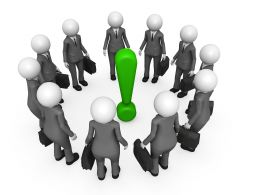 Team Of 3D Man In Circle With Exclamation Mark In Center Stock Photo