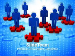 Team Of 3d Men On Puzzle Pieces Powerpoint Templates Ppt Themes And Graphics
