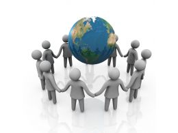 Team Of 3D Men Standing Around The Globe Stock Photo