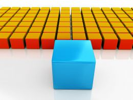 Team Of Cubes Standing Behind Blue Leader Cube Stock Photo