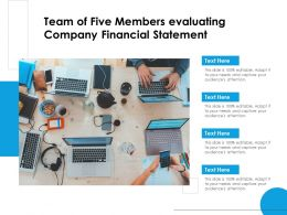 Team Of Five Members Evaluating Company Financial Statement