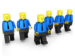 Team Of Lego Men With Leader Standing Ahead Stock Photo