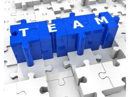 Team Of Puzzle Pieces Stock Photo