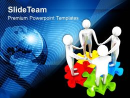 Team On Colorful Jigsaw Puzzles Global Powerpoint Templates Ppt Themes And Graphics