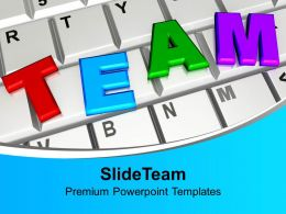 Team On Keyboard Computer Internet Powerpoint Templates Ppt Backgrounds For Slides 0113