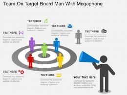 Team On Target Board Man With Megaphone Flat Powerpoint Design