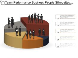 Team Performance Business People Silhouettes Standing Over Pie Chart