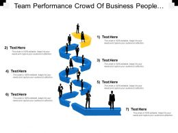 Team Performance Crowd Of Business People Standing Line Three Variant