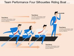 Team Performance Four Silhouettes Riding Boat Arrow Leadership
