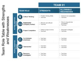 Team Role Table With Strengths And Weaknesses