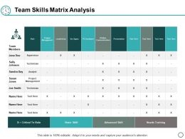 Team Skills Matrix Analysis Ppt Powerpoint Presentation Layouts Themes
