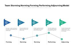 Team Storming Norming Forming Performing Adjourning Model