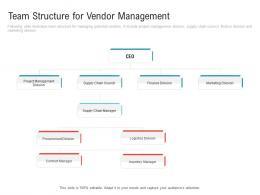 Team Structure For Vendor Management Embedding Vendor Performance Improvement Plan Ppt Information