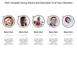 Team Template Having Names And Description Of All Team Members