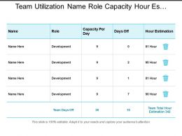 Team Utilization Name Role Capacity Hour Estimation